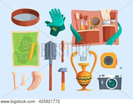 Archeology Equipment. Adventure Findings Artifacts Ancient Items Bones Archeological Brush Magnifyin