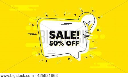 Sale 50 Percent Off Discount. Idea Yellow Chat Bubble Banner. Promotion Price Offer Sign. Retail Bad