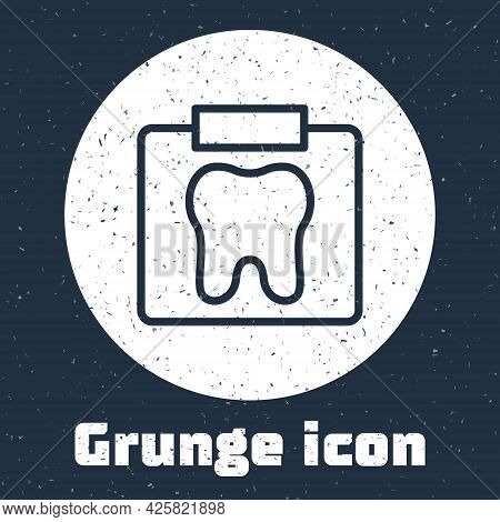 Grunge Line X-ray Of Tooth Icon Isolated On Grey Background. Dental X-ray. Radiology Image. Monochro