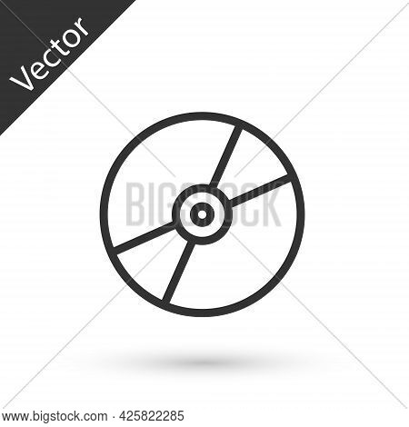 Grey Line Cd Or Dvd Disk Icon Isolated On White Background. Compact Disc Sign. Vector