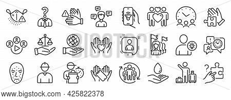 Set Of People Icons, Such As Feminism, Water Care, User Idea Icons. Safe Planet, Video Conference, J
