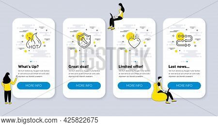 Set Of Business Icons, Such As Hot Sale, Spanner, Heart Icons. Ui Phone App Screens With People. Met