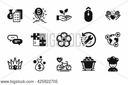Vector Set Of Cooking Chef, Bitcoin Project And Accounting Wealth Icons Simple Set. Crown, Recovery
