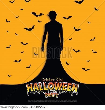 Happy Halloween Scary Spooky Card With Zombie And Bats. Illustrator Vector Eps 10.