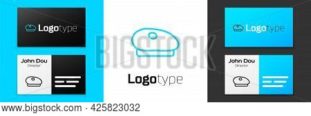 Blue Line French Beret Icon Isolated On White Background. Logo Design Template Element. Vector