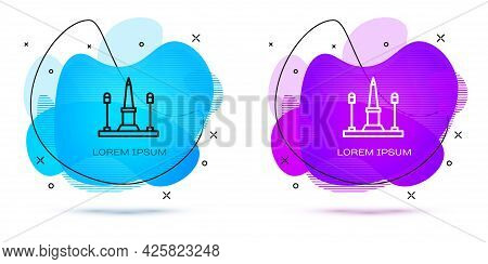 Line Place De La Concorde In Paris, France Icon Isolated On White Background. Abstract Banner With L