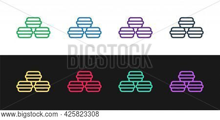 Set Line Macaron Cookie Icon Isolated On Black And White Background. Macaroon Sweet Bakery. Vector