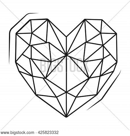 Vector Isolated Icon On White Background. A Diamond Or Gem In The Shape Of A Heart. Straight Cut Bri