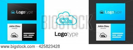 Blue Line Co2 Emissions In Cloud Icon Isolated On White Background. Carbon Dioxide Formula, Smog Pol