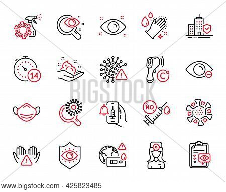 Vector Set Of Medical Icons Related To Apartment Insurance, Eye Checklist And Covid Virus Icons. Eye