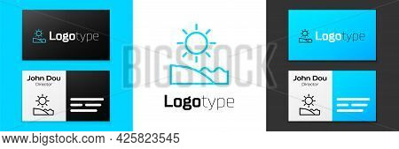 Blue Line Beach Icon Isolated On White Background. Tropical Beach Landscape. Good Sunny Day. Logo De