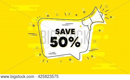 Save 50 Percent Off. Alert Megaphone Yellow Chat Banner. Sale Discount Offer Price Sign. Special Off