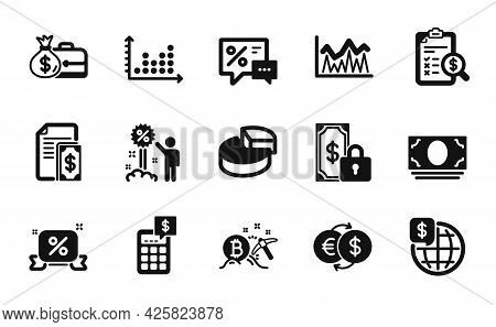 Vector Set Of World Money, Salary And Investment Icons Simple Set. Discounts, Money Exchange And Pri