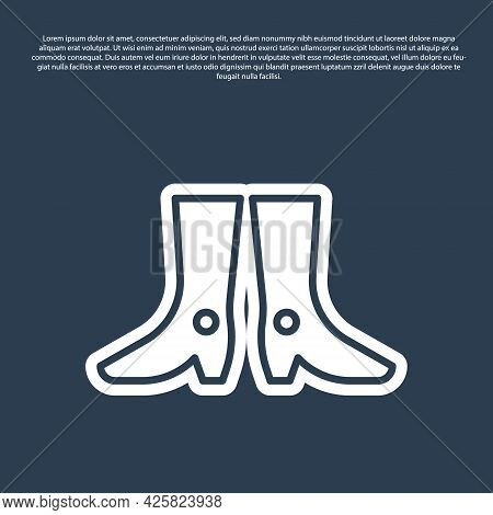 Blue Line Ukrainian National Footwear Icon Isolated On Blue Background. Traditional Ethnic Boots. Ve