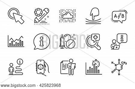 Science Icons Set. Included Icon As 3d App, Infochart, Elastic Signs. Job Interview, Cloud System, M