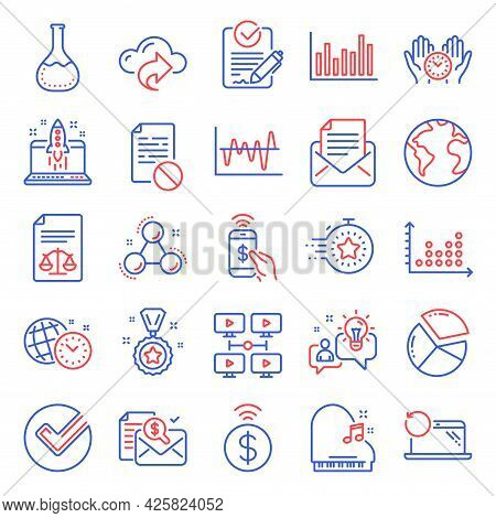Education Icons Set. Included Icon As Mail Correspondence, Chemistry Molecule, Accounting Report Sig