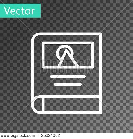 White Line Photo Album Gallery Icon Isolated On Transparent Background. Vector