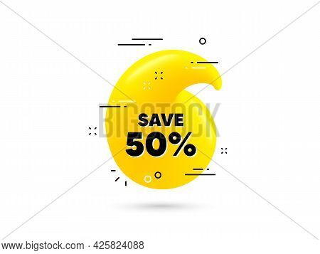 Save 50 Percent Off. Yellow 3d Quotation Bubble. Sale Discount Offer Price Sign. Special Offer Symbo