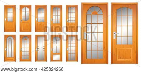 Set Of Realistic Wooden Door Isolated Or Modern Wooden Door Style For Home, Office Or Apartment Or R