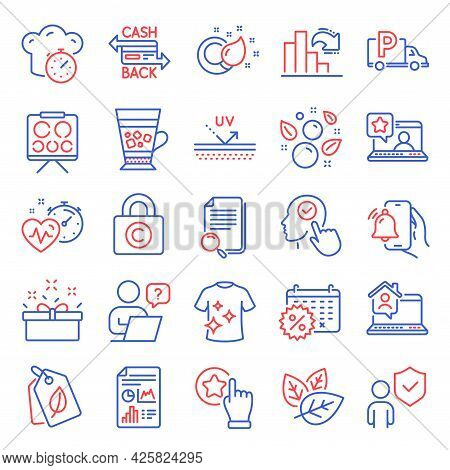 Line Icons Set. Included Icon As Work Home, Rate Button, Search File Signs. Security, Truck Parking,