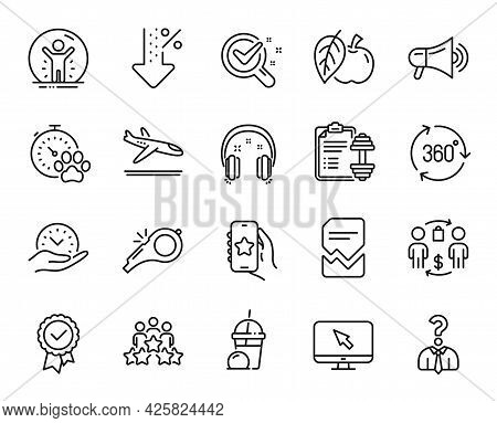 Vector Set Of Dog Competition, Favorite App And Low Percent Line Icons Set. 360 Degree, Safe Time An