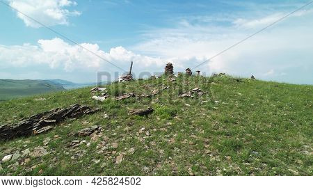 Stones In Pyramids. A Place Of Power, Traditions And Customs Of The Khakass Steppe. Hills And Mounta