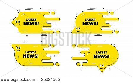 Latest News Text. Cartoon Face Transition Chat Bubble. Media Newspaper Sign. Daily Information Symbo