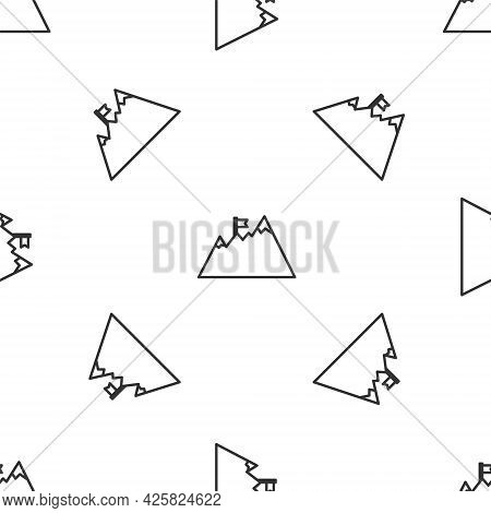 Grey Line Mountains With Flag On Top Icon Isolated Seamless Pattern On White Background. Symbol Of V