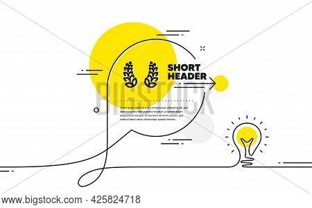 Laurel Wreath Icon. Continuous Line Idea Chat Bubble Banner. Reward Symbol. Winner Award Sign. Laure