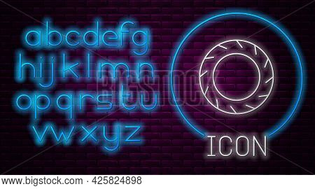 Glowing Neon Line Bicycle Wheel Tire Icon Isolated On Brick Wall Background. Bike Race. Extreme Spor