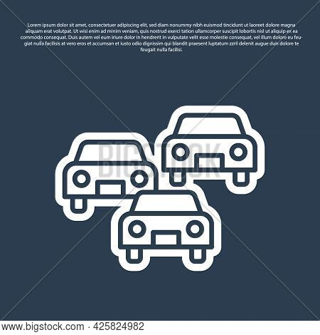 Blue Line Traffic Jam On The Road Icon Isolated On Blue Background. Road Transport. Vector
