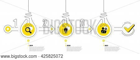 Business Infographic Template. Timeline With 3 Steps. Workflow Process Diagram With Research, Idea B