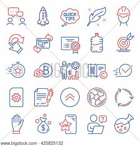 Business Icons Set. Included Icon As Refresh Website, Money Bag, People Chatting Signs. Timer, Check