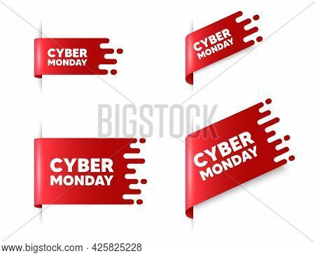 Cyber Monday Sale Text. Red Ribbon Tag Banners Set. Special Offer Price Sign. Advertising Discounts
