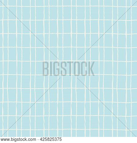 Seamless Pattern With Double Hand Drawn Grid On Blue Background