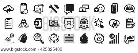 Set Of Technology Icons, Such As Engineering Team, 5g Statistics, Spanner Tool Icons. Timer, Checkli