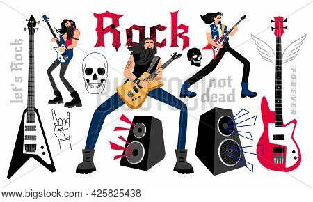 Rockers Party. Cartoon Musicians With Electric Guitars, Concept Of Performing At Rock Music Festival