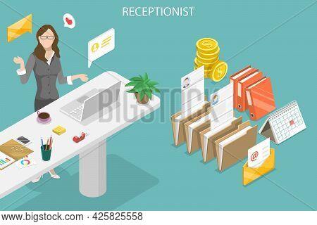 3d Isometric Flat Vector Conceptual Illustration Of Receptionist Job, Office Secretary Duties