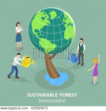 3d Isometric Flat Vector Conceptual Illustration Of Sustainable Forest Management , Environment Care