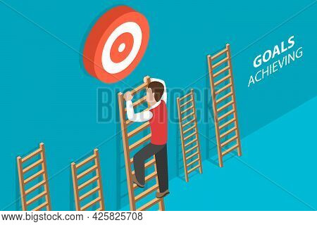 3d Isometric Flat Vector Conceptual Illustration Of Goals Achieving, Business Strategy To Reach Targ