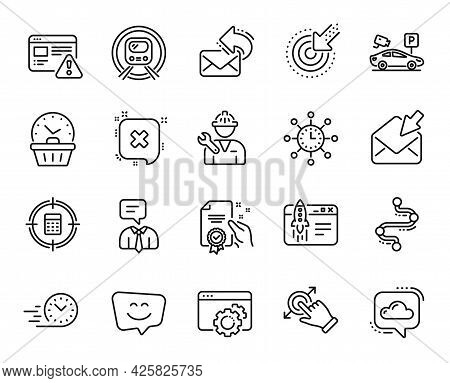 Vector Set Of Timeline, Targeting And Parking Security Line Icons Set. Repairman, Share Mail And Sta