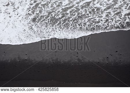 Waves On Black Sand Beach With Copy Space. Beauty In Nature In Tenerife. Canary Islands, Spain.