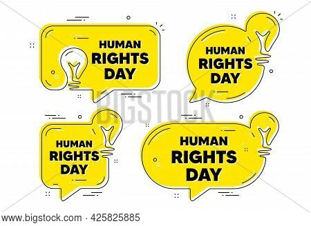 Human Rights Day Message. Idea Yellow Chat Bubbles. Celebrate A Civil Day. International Society Fre