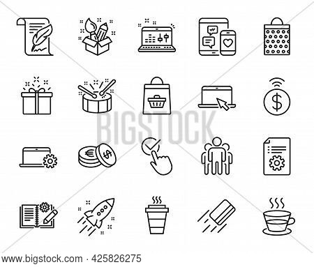 Vector Set Of Credit Card, Group And Creativity Line Icons Set. Shopping Bag, Notebook Service And C
