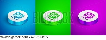Isometric Line Baseball Base Icon Isolated On Blue, Green And Purple Background. White Circle Button