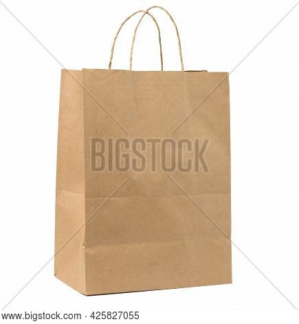 Large Disposable Brown Kraft Paper Bag With Handles Isolated On White Background, Eco Packaging, Zer