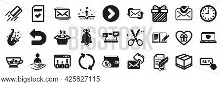 Set Of Simple Icons, Such As Recruitment, Refresh, Delivery Box Icons. Surprise, Approved Mail, Feat