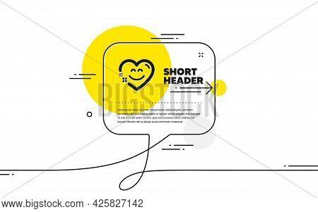 Smile Chat Icon. Continuous Line Chat Bubble Banner. Happy Emoticon Sign. Heart Speech Bubble Symbol