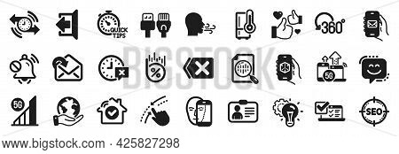 Set Of Technology Icons, Such As Refrigerator, Smile Face, Online Survey Icons. Save Planet, Sign Ou