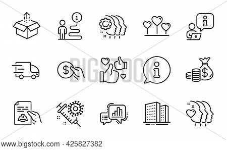 Line Icons Set. Included Icon As Technical Documentation, Love Heart, Buildings Signs. Employees Tea